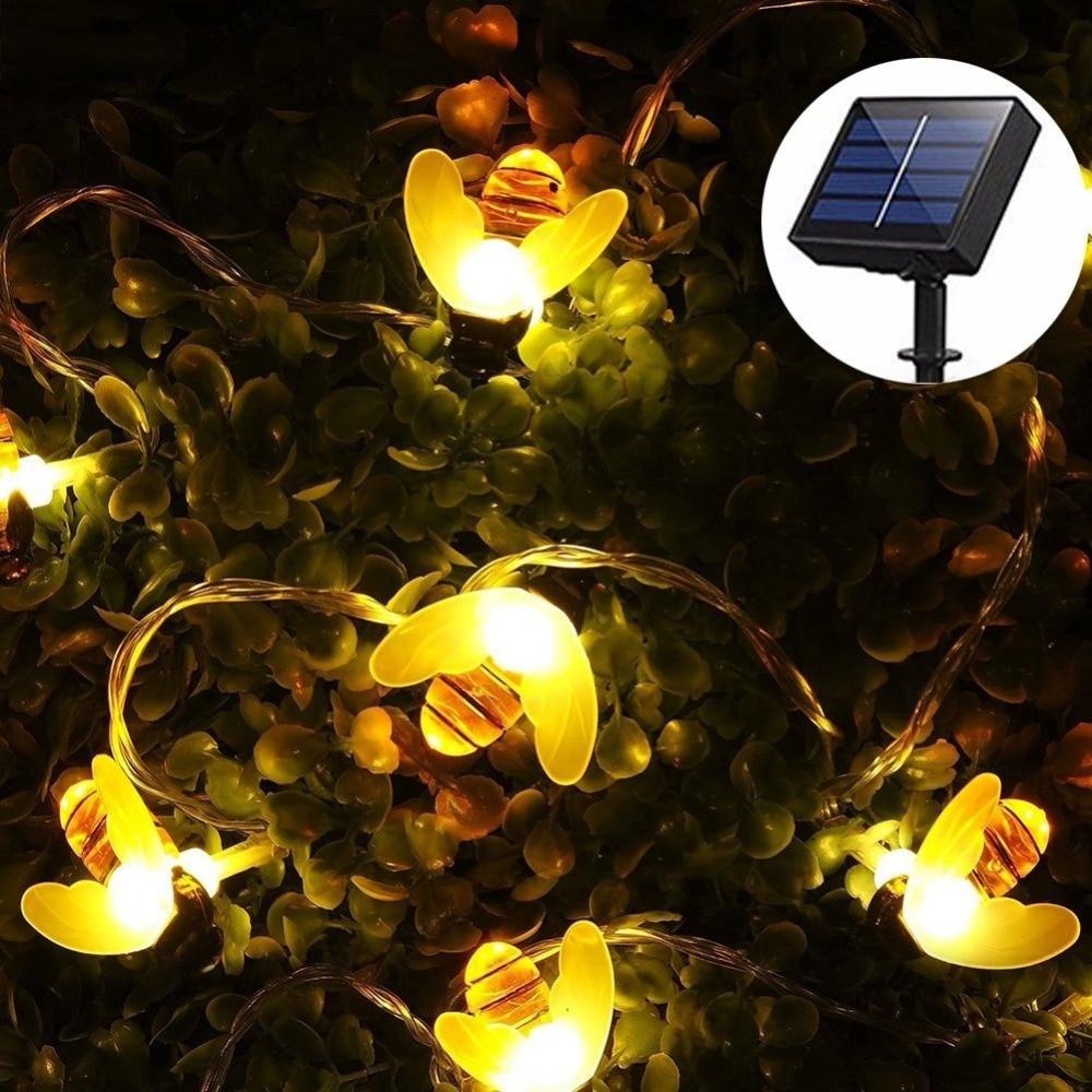 Solar String Lights 20/30 Led Honey Bee Shape Solar Powered Outdoor ...