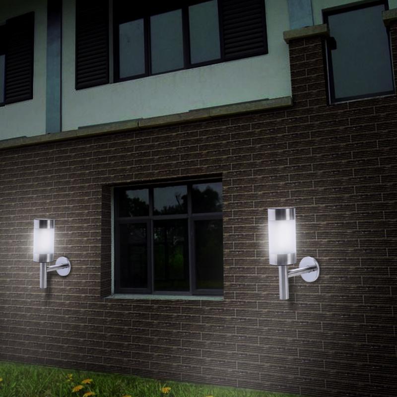 2pcs Stainless Steel LED Solar Light Outdoor Lighting LED Wall Lamp Fence Lamp  Outdoor Solar Garden Lights Secuity Sensor Lamp
