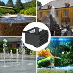 Tabletop Fountains Submersible Water Pump for Aquarium Pond Water <b>Gardens</b> and <b>Hydroponic</b> Systems with One Nozzle 4.9ft(1.5m)